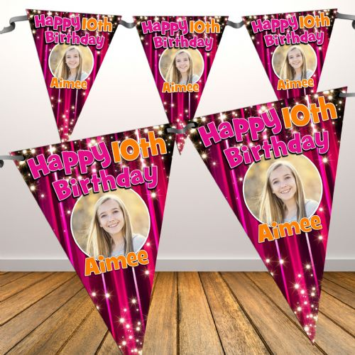 Personalised Happy Birthday Pink Sparkle Flag PHOTO Bunting Banner - N2